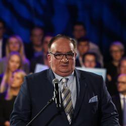 Jacek Saryusz-Wolski na konwencji wyborczej Patryka Jakiego