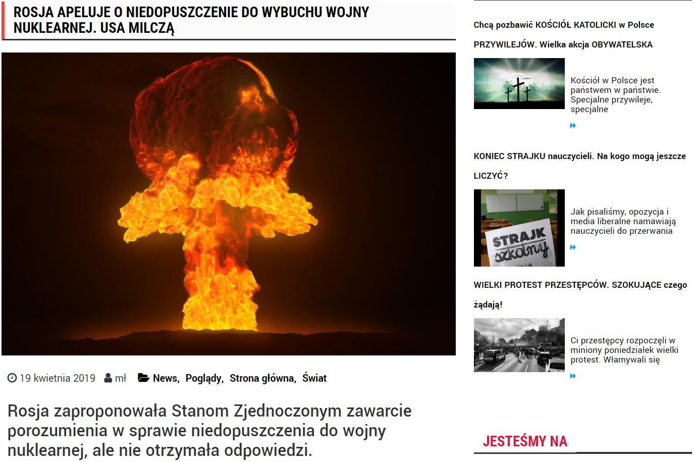 """Straszenie wojną na """"Innej Polityce"""", portalu Jacka Podgórskiego, b. doradcy Leszka Millera."""