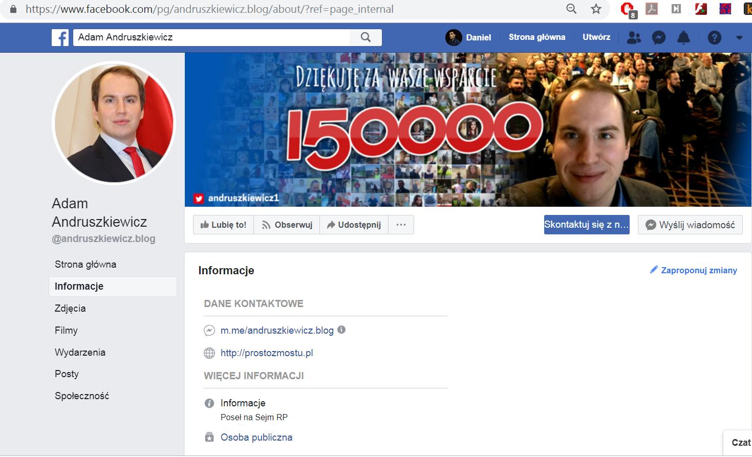 Adam Andruszkiewicz usunął ze swojego fanpejdża link do portalu udostępnianego w siatce FB. Zachowaliśmy jednak zrzut ekranu.