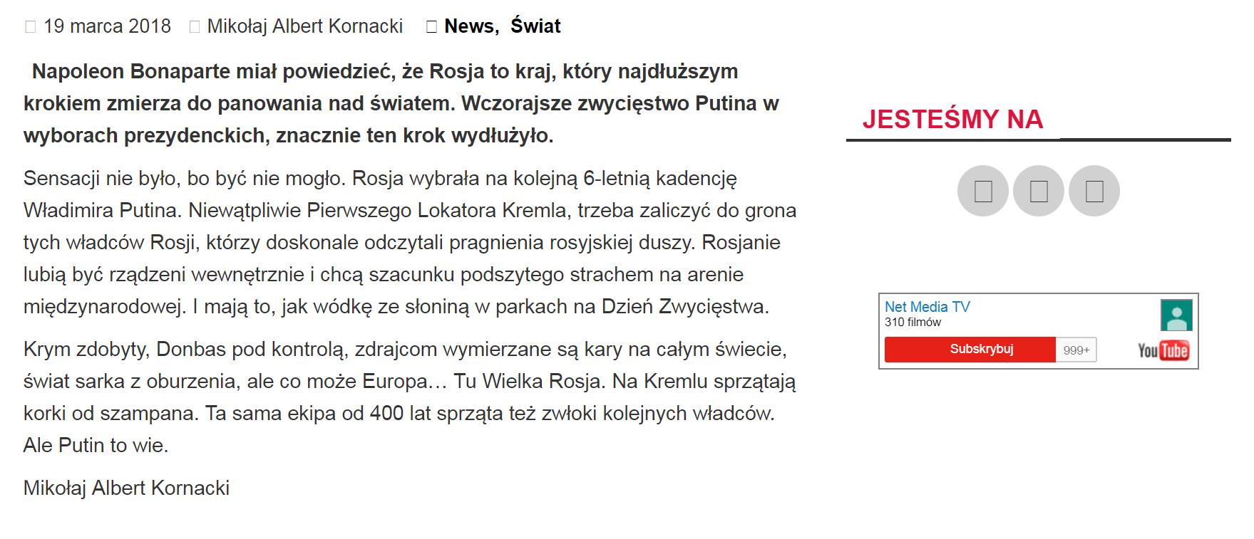 """Chwalenie Putina na """"Innej Polityce"""", portalu Jacka Podgórskiego, b. doradcy Leszka Millera."""