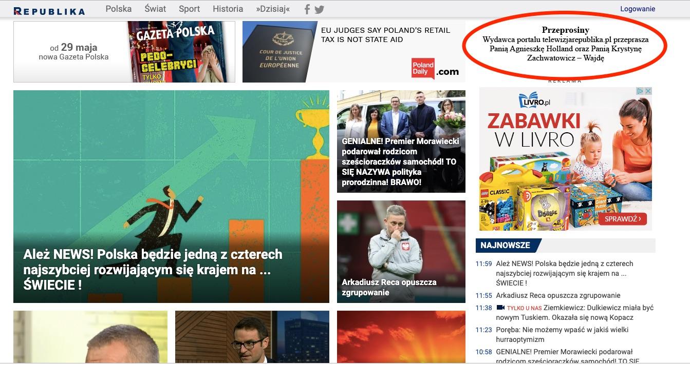 Telewizja Republika przeprasza Agnieszkę Holland i Krystynę Zachwatowicz-Wajdę