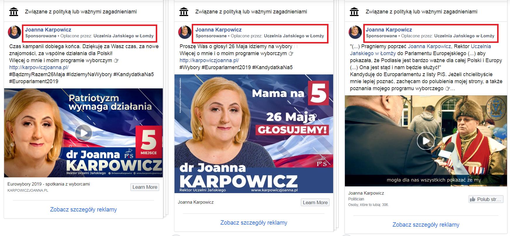 Reklama Joanny Karpowicz z PiS była sponsorowana przez uczelnię Jańskiego, której jest rektorem. To niezgodne z kodeksem wyborczym.