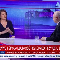 """""""Gość Wiadomości"""", 24 maja 2019, Danuta Holecka i Jarosław Kaczyński"""