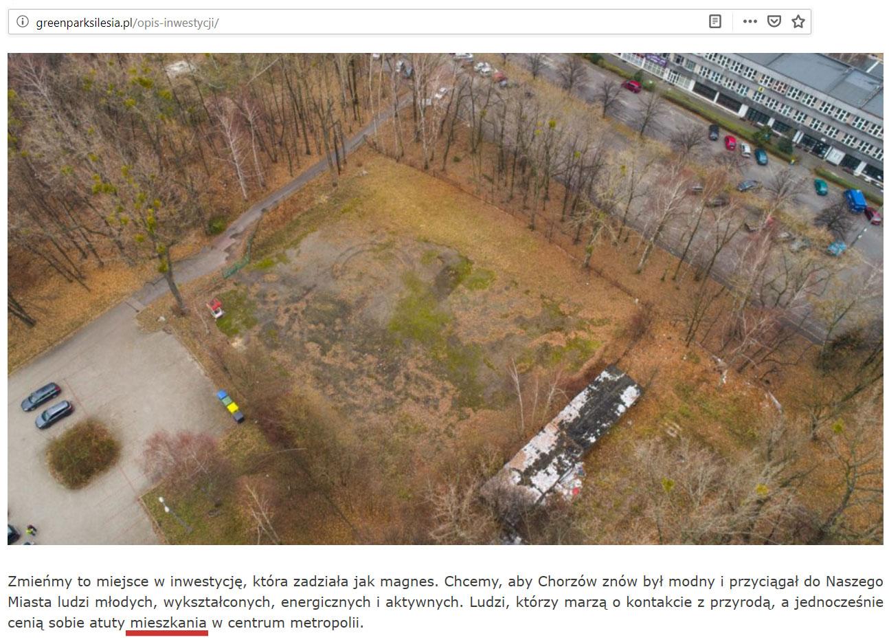 Zrzut ekranu strony Green Park Silesia, fragment opisu inwestycji; źródło: http://greenparksilesia.pl/opis-inwestycji/