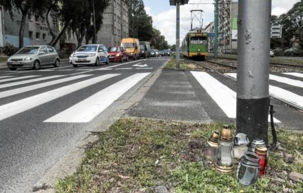 07.06.2019 Poznan , skrzyzowanie ulicy Hetmanska i Dmowskiego . Przejscie dla pieszych , na ktorym zginal chlopiec potracony przez tramwaj
