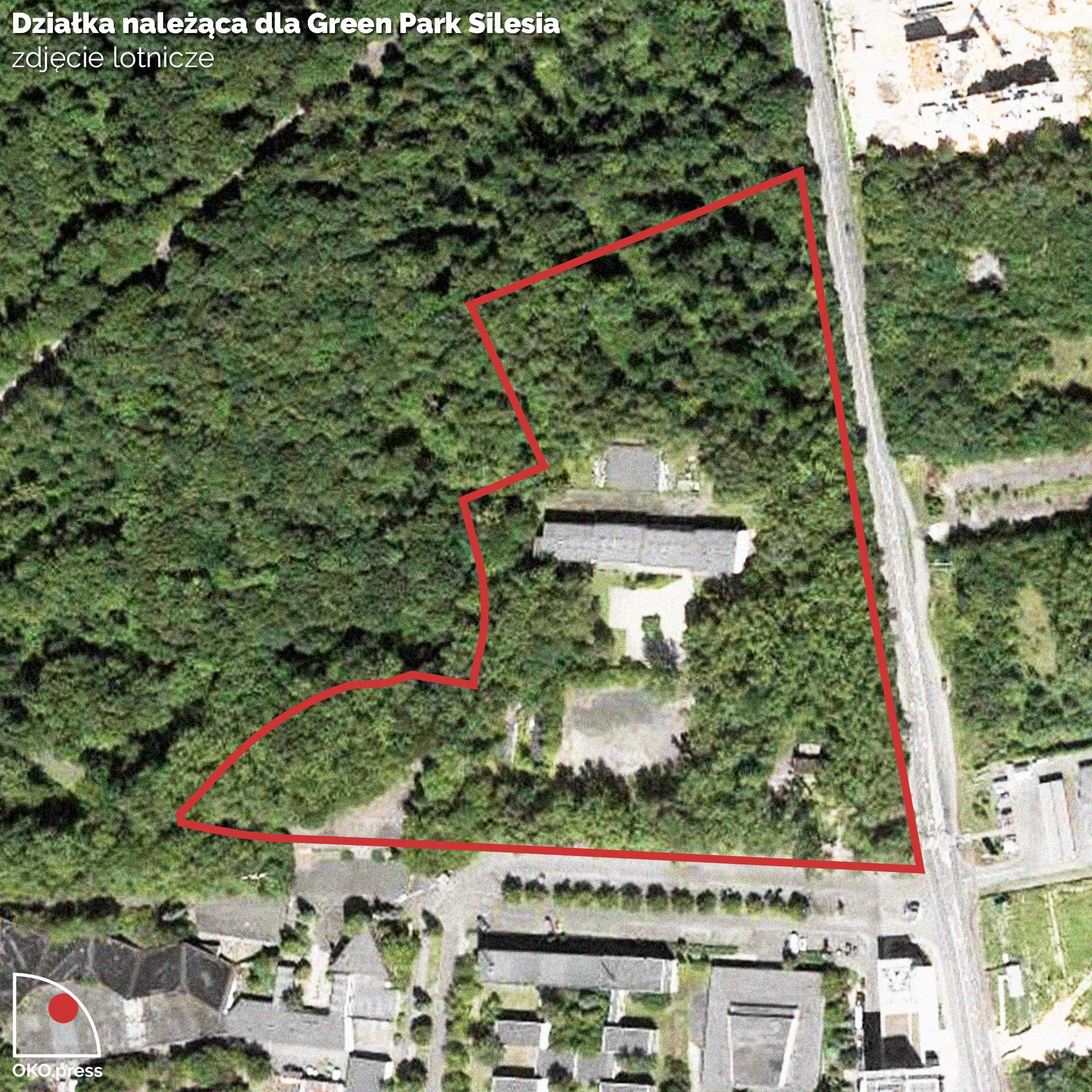 Granice działki GPS na zdjęciu satelitarnym; fot.: Maps Google