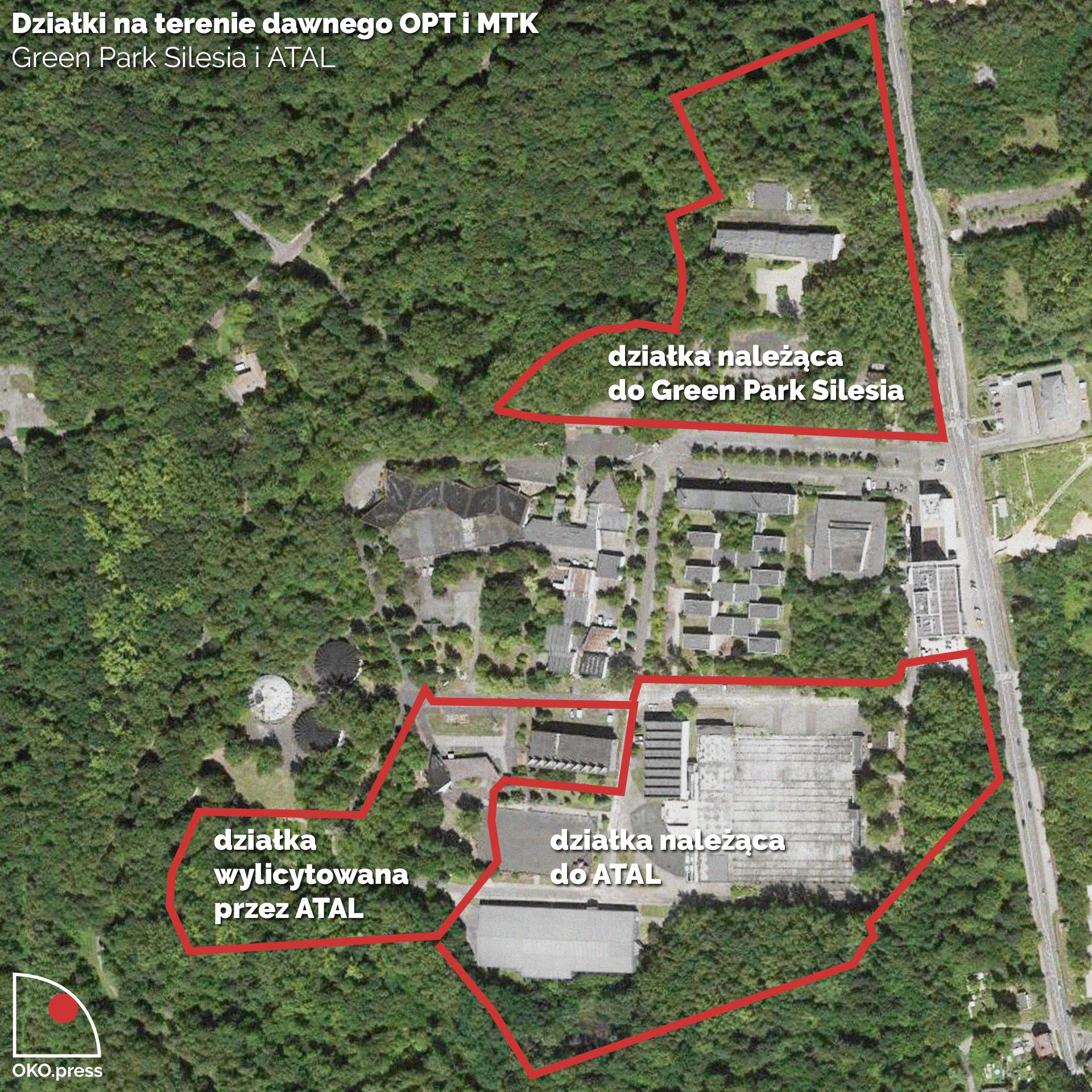Granice działek GPS i ATAL na zdjęciu satelitarnym; fot.: Maps Google