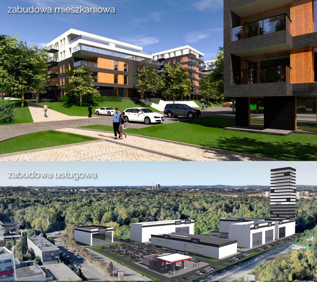 Zestawienie dwóch możliwych zdaniem inwestora inwestycji: mieszkaniowej i usługowej; źródło wizualizacji: GPC