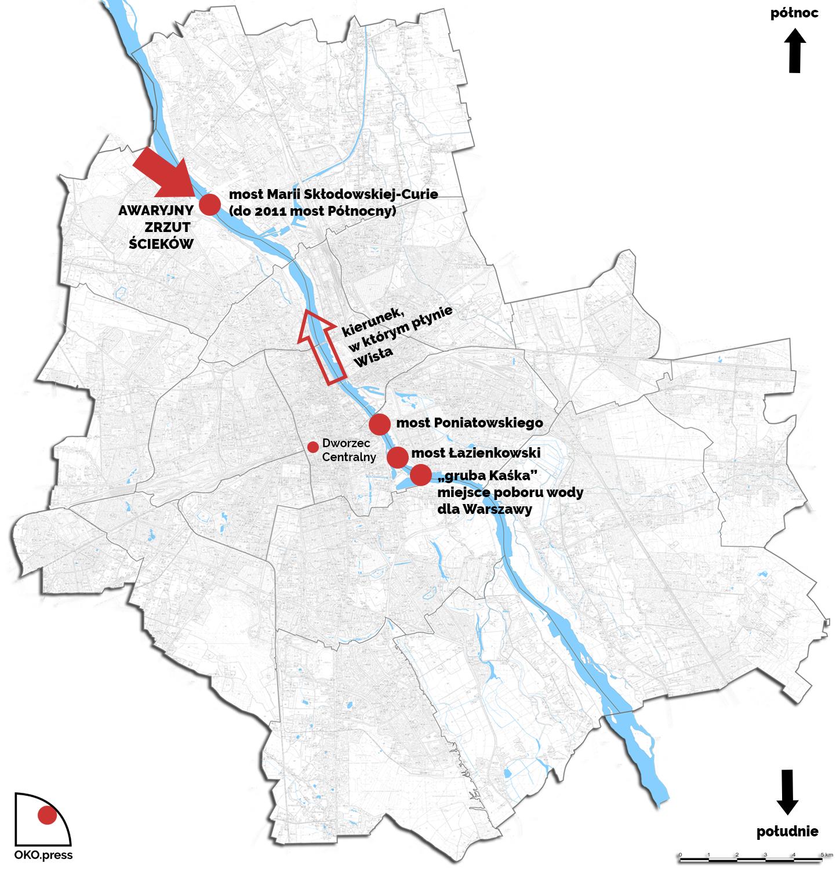 mapa Warszawy z oznaczeniem miejsca awaryjnego zrzutu ścieków oraz miejsca poboru wody pitnej dla Warszawy
