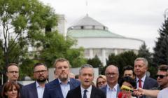 konferencja lewicowej koalicji SLD - Razem - Wiosna w sprawie Senatu