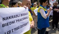 Pracownicy Praktikera protestuja