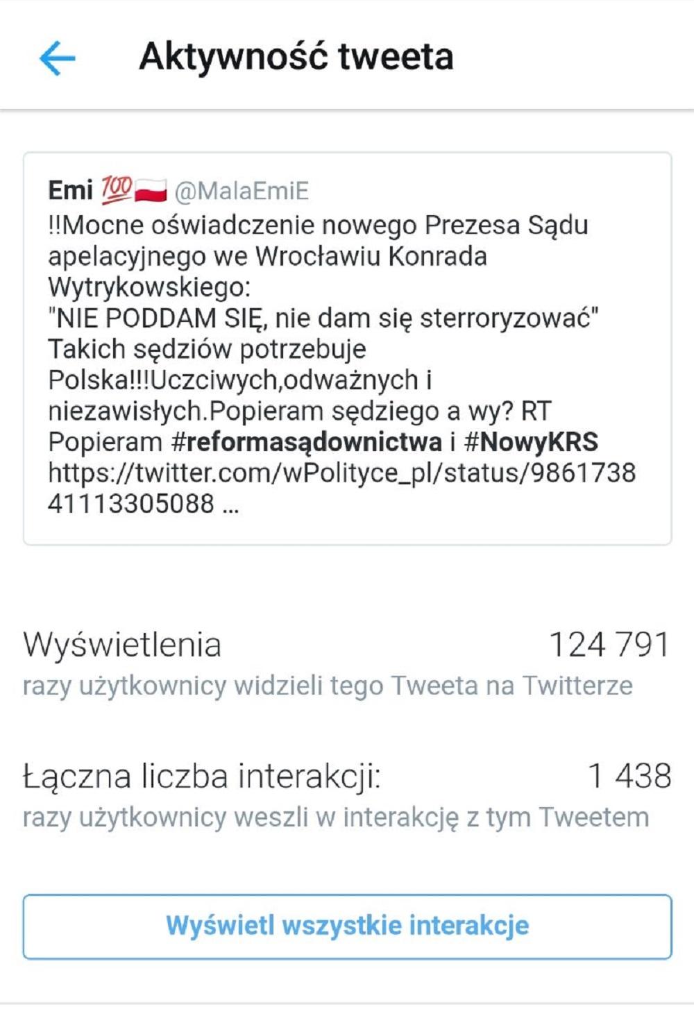 Screen wysłany przez Małą Emi wiceministrowi Piebiakowi
