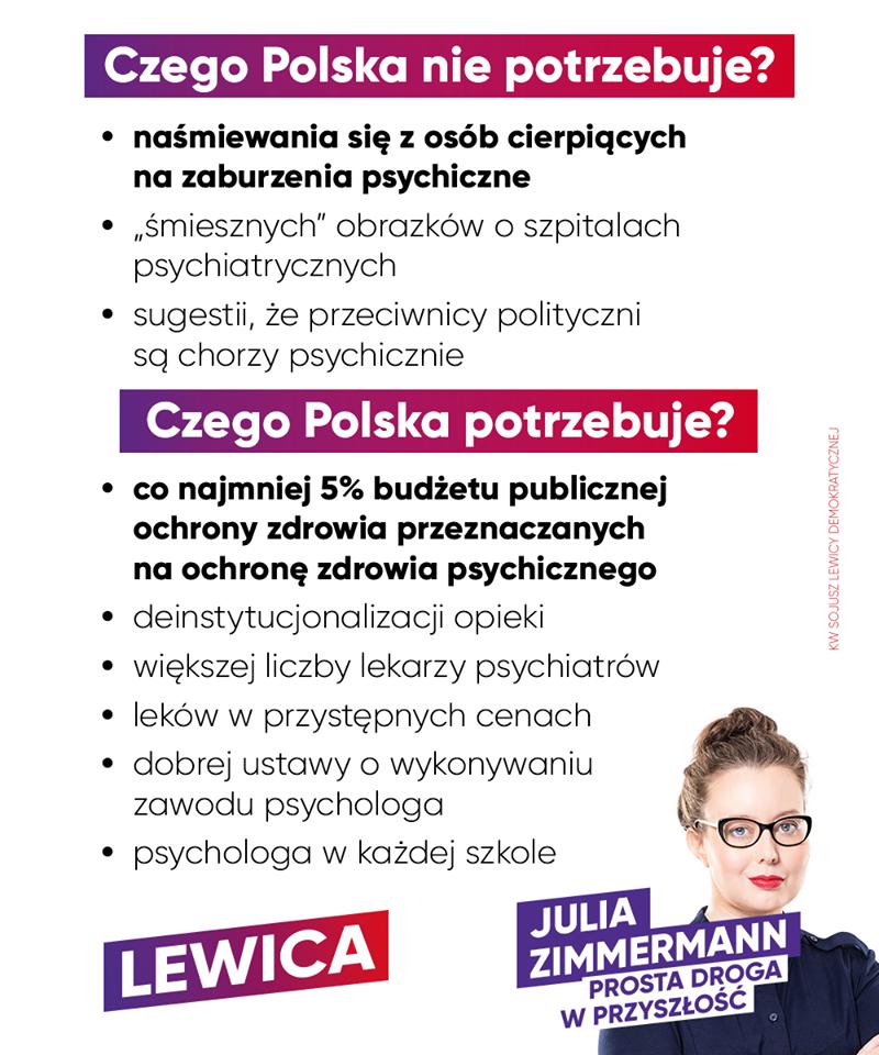 """Julia Zimmerman (Lewica): Zaburzenia lękowe, schizofrenia, zaburzenia afektywne dwubiegunowe, depresja – to nie jest powód do żartów. Zamiast mówić ludziom, by """"nie świrowali i poszli na wybory"""", parodiując przy tym osoby chore, lepiej zacznijmy poważnie rozmawiać o ochronie zdrowia psychicznego. Psychiatria w Polsce jest w kryzysie. Często można przeczytać w prasie o tragicznych wydarzeniach na oddziałach psychiatrycznych. W naszym kraju zaledwie 3,5 proc. wydatków na zdrowie idzie na psychiatrię. Tymczasem średnia UE to 6 proc.! Stygmatyzacja osób z zaburzeniami psychicznymi w niczym nie pomaga. Ludzie często boją się nawet pójść do lekarza. Myślą: """"przecież ja jestem normalny"""". Tymczasem szacuje się, że jedna na cztery osoby w Polsce miała, ma lub będzie miała w swoim życiu problemy ze zdrowiem psychicznym. Wszyscy mamy prawo do zdrowia! Chcemy walki z deficytem kadr medycznych – potrzebujemy zwiększenia liczby miejsc na specjalizacjach lekarskich, w tym z psychiatrii i psychiatrii dziecięcej. Możliwość wizyty u lekarza-psychiatry powinna być dostępna dla wszystkich, a nie wyłącznie dla osób, które stać na leczenie prywatne. Lewica - KW Sojusz Lewicy Demokratycznej będzie zabiegać o to, by w 2024 roku publiczne nakłady na ochronę zdrowia wynosiły 7,2 proc. PKB, oraz by już w 2022 roku co najmniej 5 proc. wydatków na zdrowie trafiało na ochronę zdrowia psychicznego."""