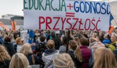 Poparcie dla strajkujacych nauczycieli w Katowicach