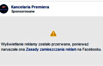 Kancelaria Premiera narusza zasady jawności finansowania reklam politycznych na Facebooku!