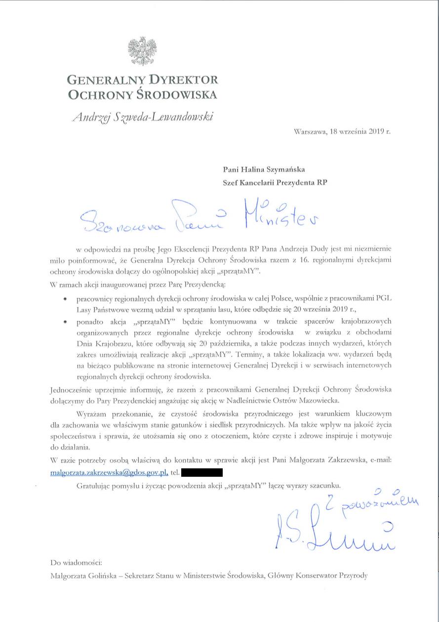 Pismo Generalnego Dyrektora Ochrony Środowiska do Prezydenta RP ws. akcji sprzątaMY