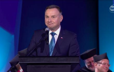 Andrzej Duda, AGH, 19 października 2019, źródło: TVN24