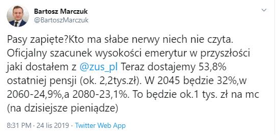 Pasy zapięte? Kto ma słabe nerwy niech nie czyta. Oficjalny szacunek wysokości emerytur w przyszłości jaki dostałem z @zus_pl. Teraz dostajemy 53,8% ostatniej pensji (ok. 2,2tys.zł). W 2045 będzie 32%,w 2060-24,9%,a 2080-23,1%. To będzie ok.1 tys. zł na mc (na dzisiejsze pieniądze)