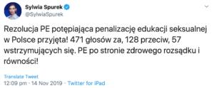 Rezolucja PE potępiająca penalizację edukacji seksualnej w Polsce przyjęta! 471 głosów za, 128 przeciw, 57 wstrzymujących się. PE po stronie zdrowego rozsądku i równości!