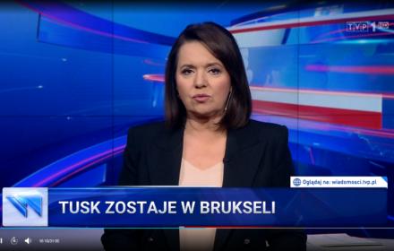 """""""Wiadomości"""" TVP z ulgą i żalem: Tusk zostaje w Brukseli"""