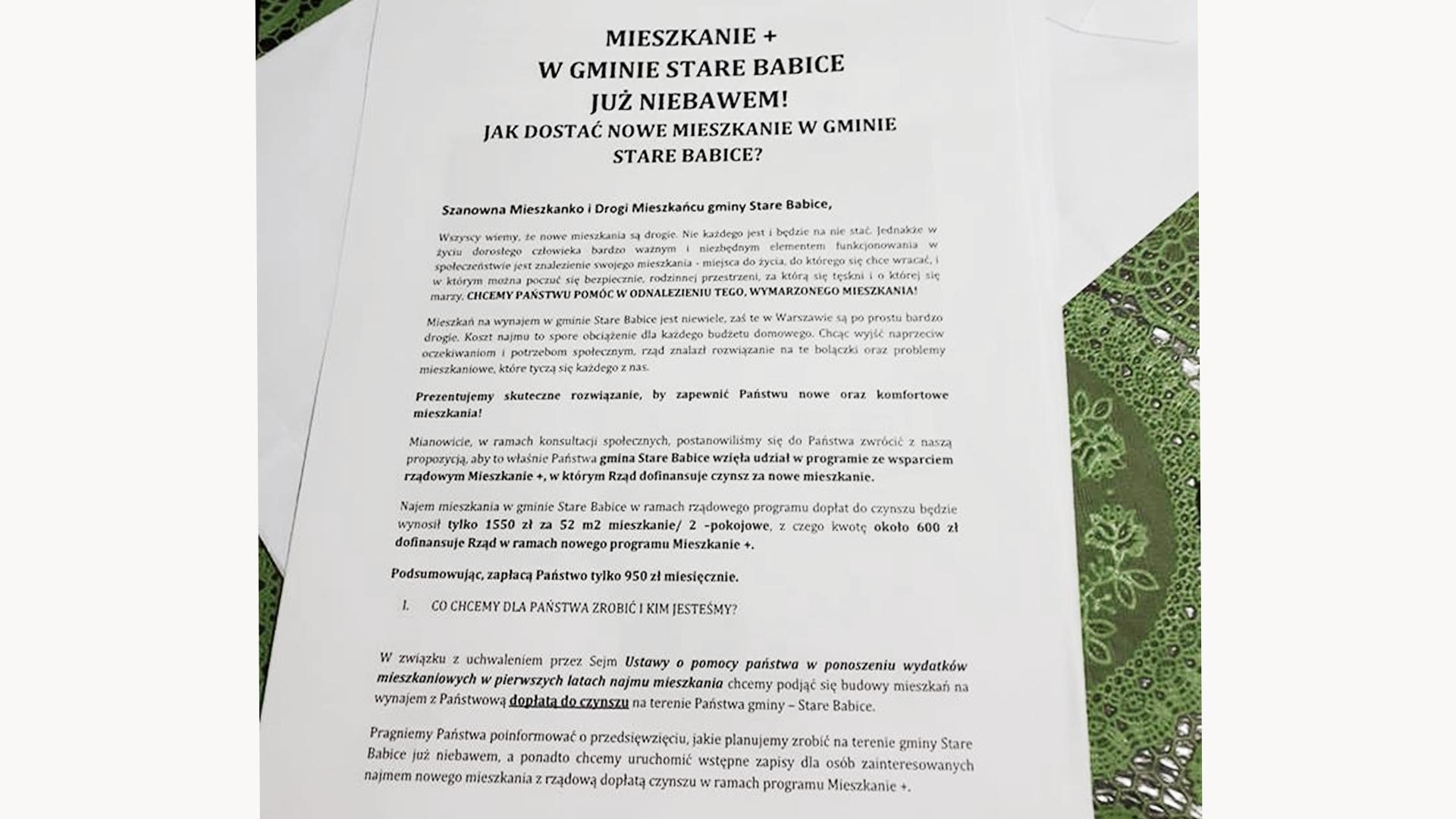 Ankieta dystrybuowana wśród mieszkańców Starych Babic