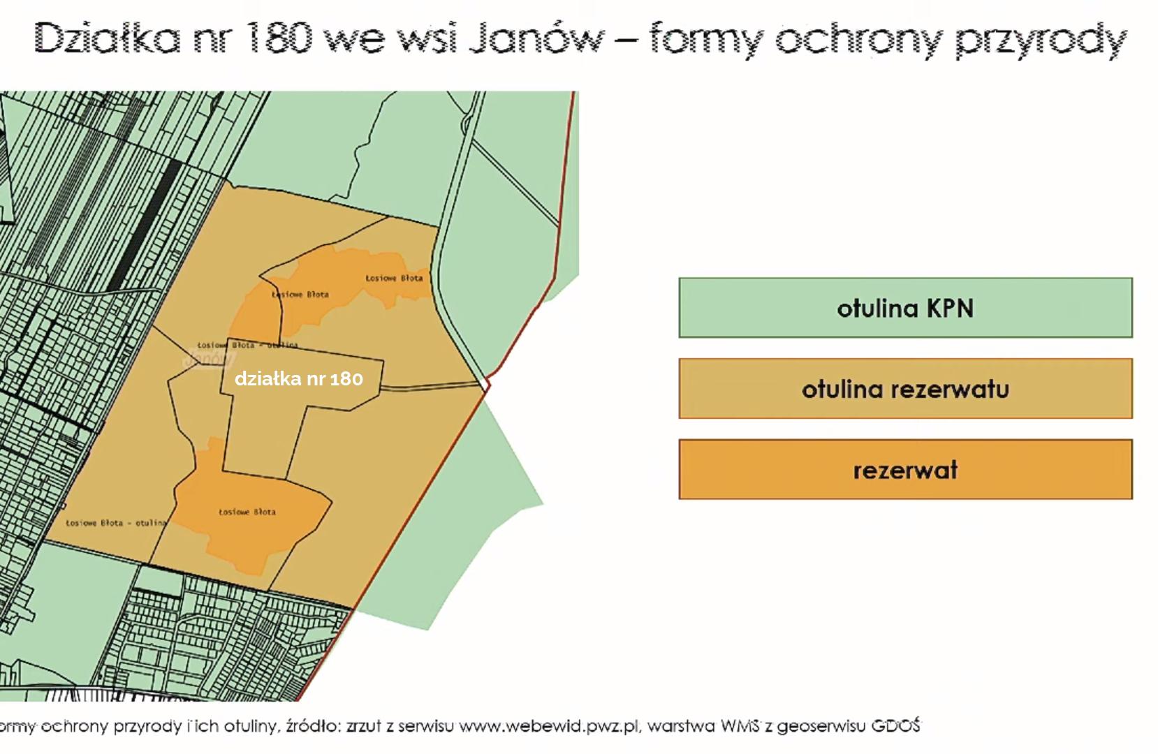 Mapa sąsiadujących z działką rezerwatów