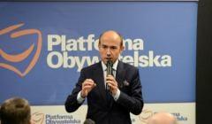 Borys Budka przemawia na spotkaniu Platformy Obywatelskiej