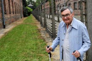 20.08.2018 Oświecim. Były wiezień Marian Turski podczas wizyty Ministra Spraw Zagranicznych Niemiec w bylym obozie koncentracyjnym Auschwitz-Birkenau.