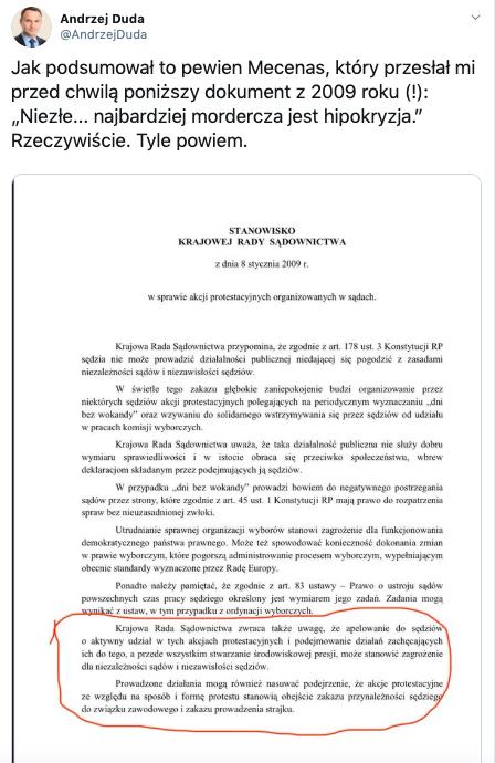prezydent Andrzej Duda podczas Marszu Tysiąca Tóg, źródło: Twitter, 11 stycznia 2020