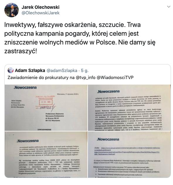 Jarosław Olechowski do Adama Szłapki, TVP, 17 stycznia 2020