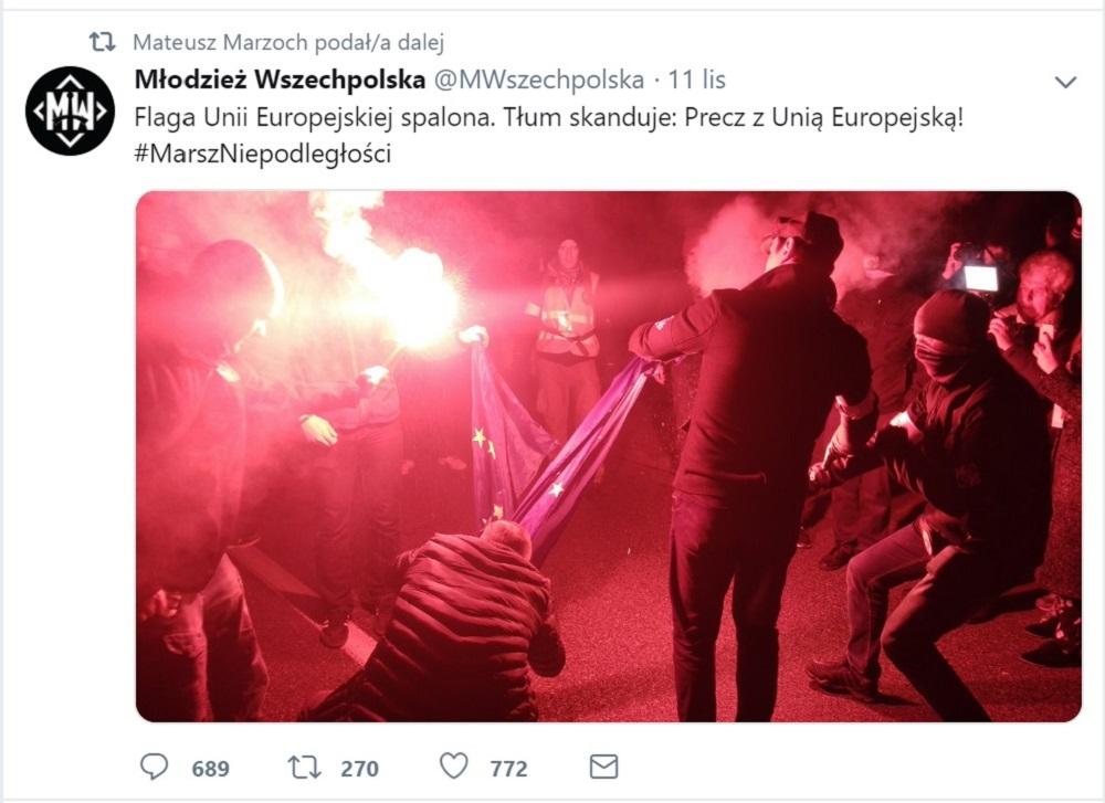 Wpis Młodzieży Wszechpolskiej na Twitterze z 11 listopada 2018 r.