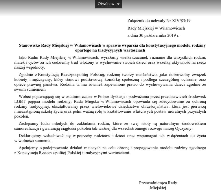 Rada Miejska w Wilamowicach o Strefie Wolnej od LGBT