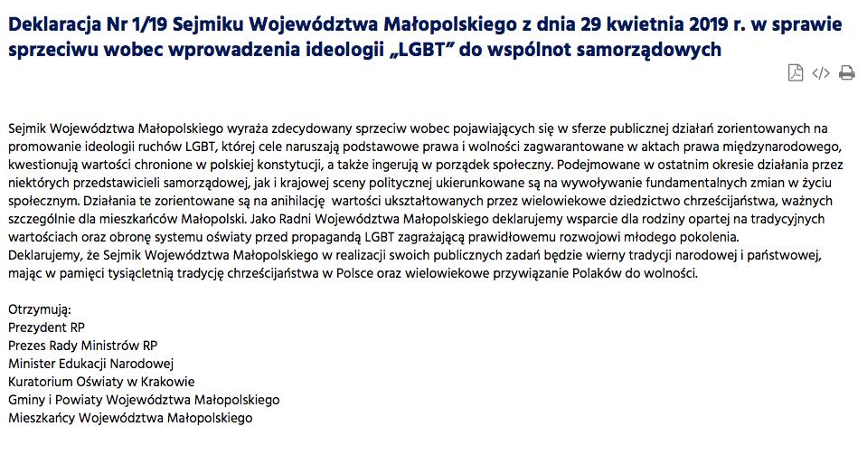 Sejmik Województwa Małopolskiego o uchwale anty-lgbt