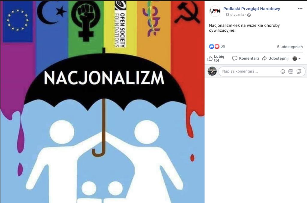 """Grafika opublikowana przez Podlaski Przegląd Narodowy przedstawia parasol z napisem """"Nacjonalizm"""" , chroniący piktogram rodziny przed tęczą z m.in. flagą Unii, półksiężycem oraz sierpem i młotem"""