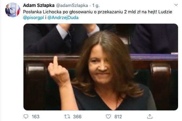 Joanna Lichocka, gest Kozakiewicza, Sejm, 13 lutego 2020