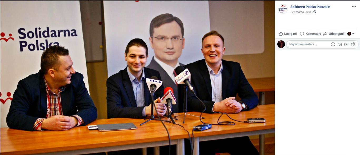 Patryk Jaki, Piotr Świderski i Łukasz Kroplewski na konferencji Solidarnej Polski