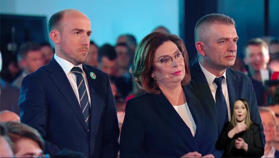 Borys Budka, Małgorzata Kidawa-Błońska i Bartosz Arłukowicz słuchają wystąpienia Tytusa i Ani z Młodzieżowego Strajku Klimatycznego, 29 lutego 2020