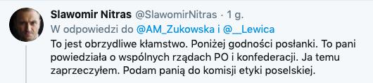 Sławomir Nitras odpowiada Annie Marii Żukowskiej, Sejm, 26 marca 2020, źródło Twitter