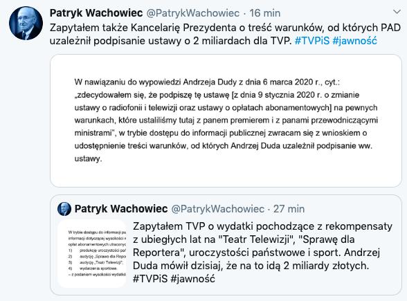 Prawnik Patryk Wachowiec pyta, jakie warunki postawił prezydent Andrzej Duda, podpisując ustawę o prawie 2 mld zł rekompensaty dla mediów państwowych, w tym TVP, 6 marca 2020