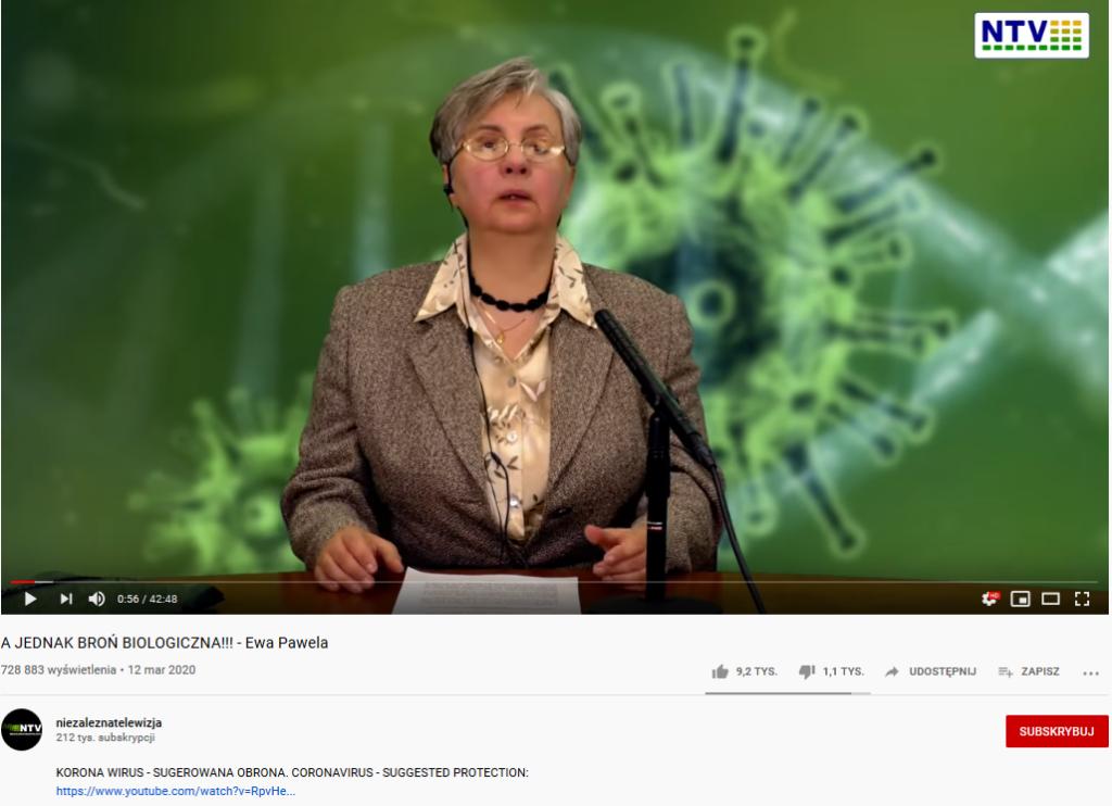 Fake news o koronawirusie na polskim kanale YouTube