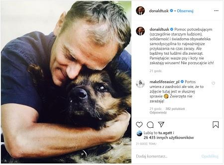 Donald Tusk - zdjęcie z psem