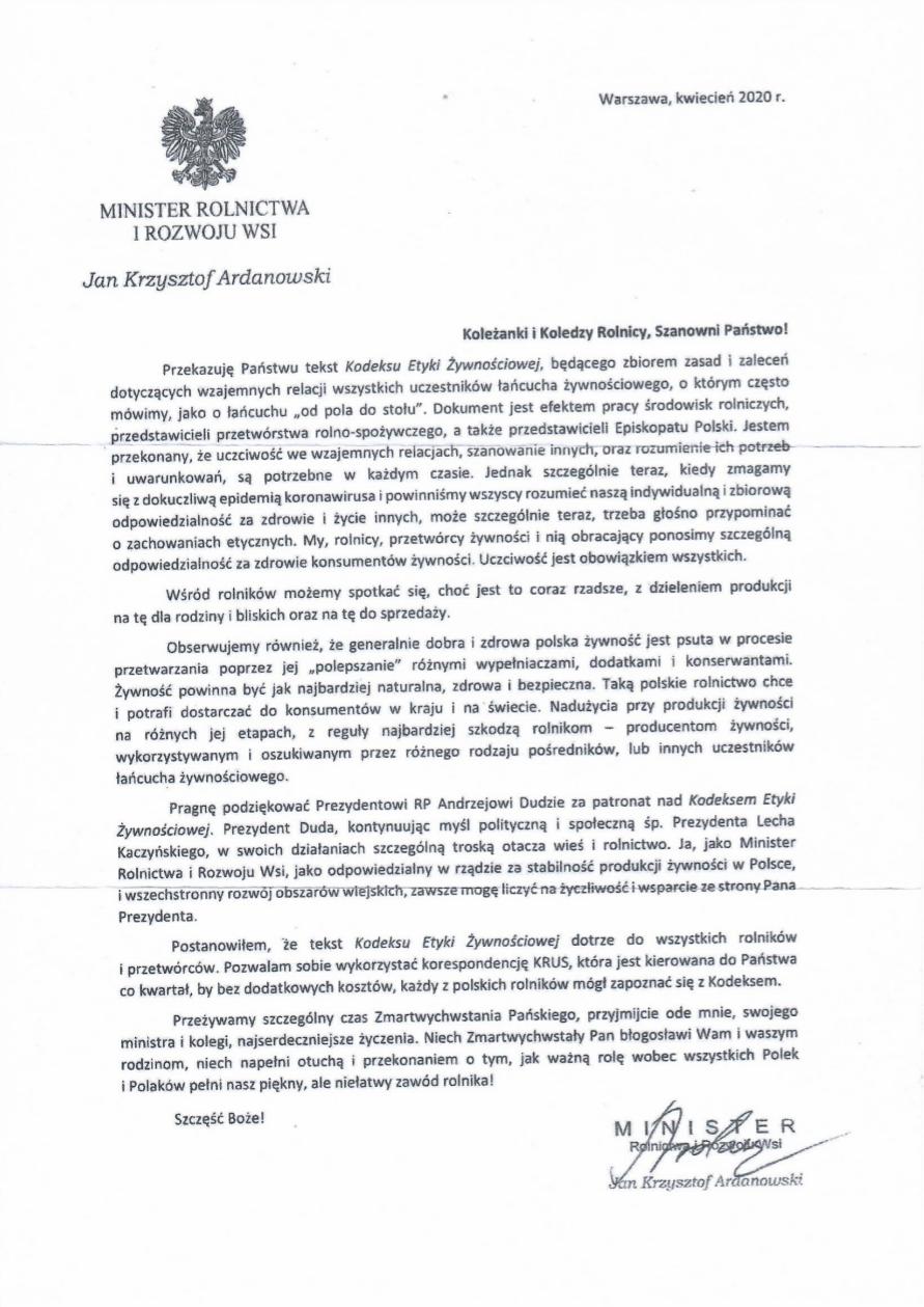 List Ministra Krzysztofa Ardanowskiego