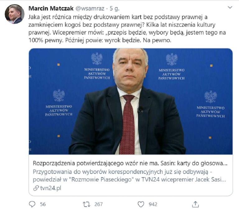Tweet Marcina Matczaka o tym, że Jacek Sasin drukuje karty wyborcze bez podstawy prawnej