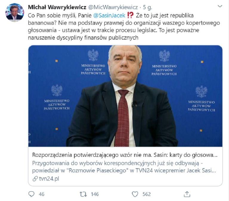 Tweet Michała Wawrykiewicza o tym, że Jacek Sasin drukuje karty wyborcze bez podstawy prawnej