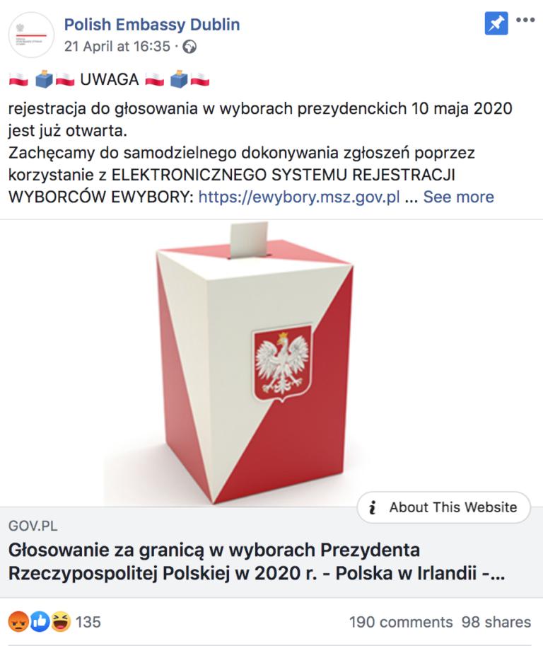 Wpis Ambasady Polski w Irlandii na Facebooku dot. głosowania w wyborach prezydenckich za granicą