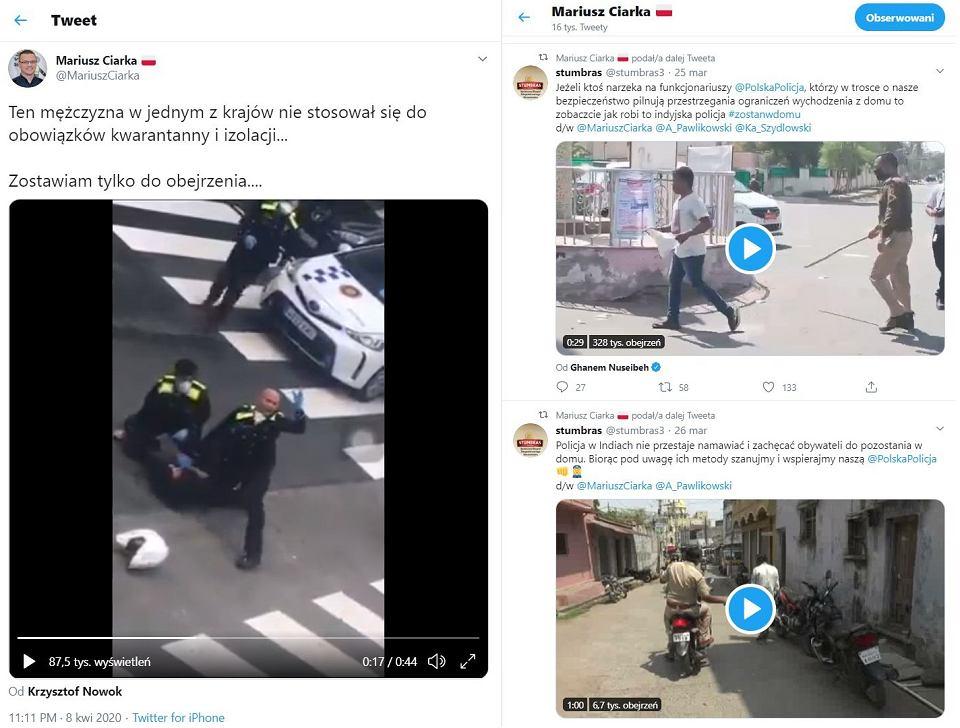 Wpisy twitterowe pokazujące jak działa policja i za co można dostać mandat