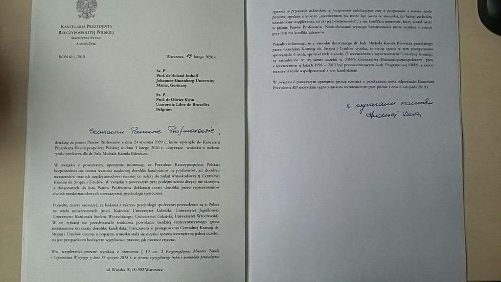 List w sprawie prof. Bilewicza
