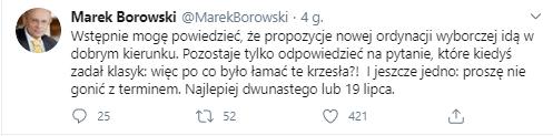 Tweet Marka Borowskiego, którego tematem jest nowy projekt ustawy o wyborach prezydenckich