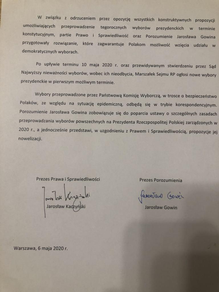 Porozumienie między Jarosławem Kaczyńskim a Jarosławem Gowinem - na jego podstawie wybory 10 maja się nie odbędą