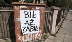 14.04.2020 Poznan , ulica Grodziska . Plakat